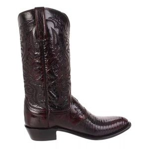 Lucchese Lizard Leather Black Cherry Boots 1/2 D